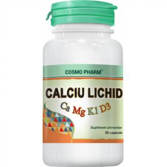 Promo Calciu Lichid (Ca 1000mg + Mg 350mg + vit. D 100 U.i.) 30 capsule +10cps (gratuit) Cosmopharm